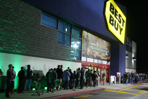 Fans line up for the launch of Modern Warfare 2 last year.
