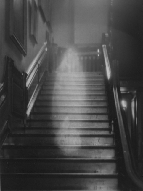 Ghost descending the staircase at Raynha