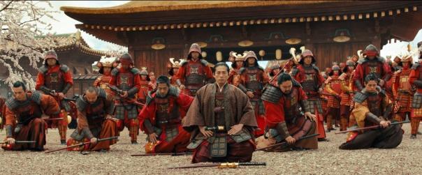 Oishi surrendering to Shogun