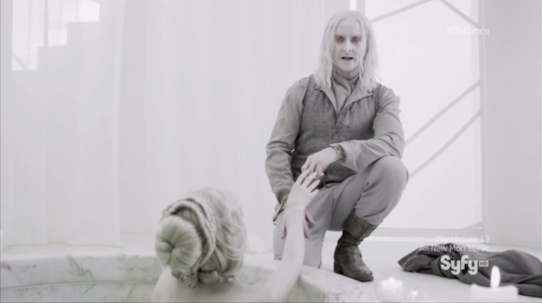 Scene from Defiance with Datak Tarr