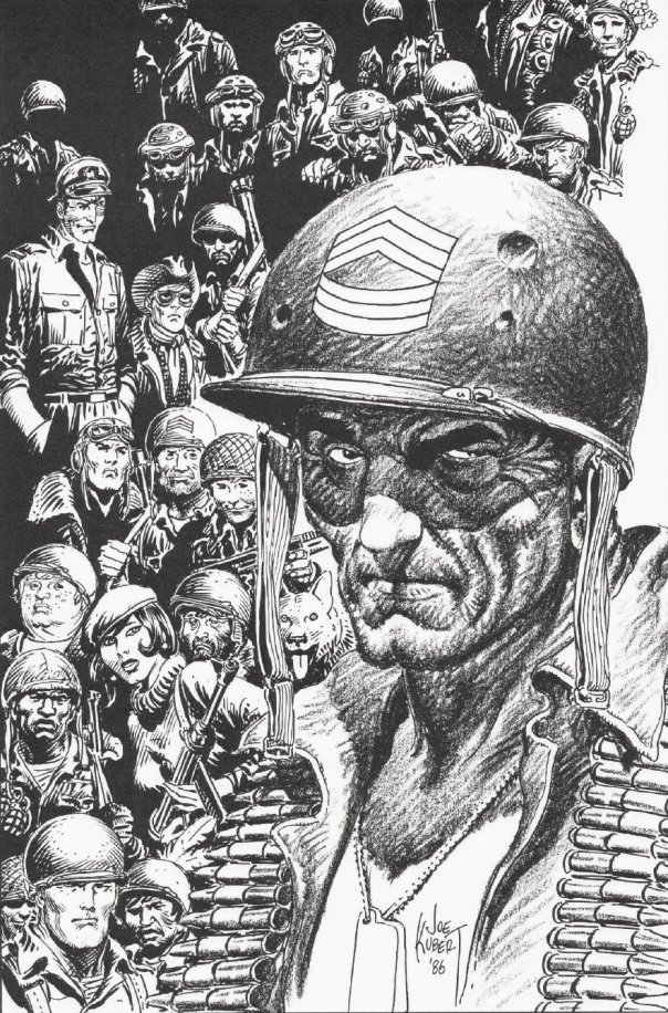 DC's war comics characters, drawn by Joe Kubert for the History of the DC Universe Portfolio, 1986.