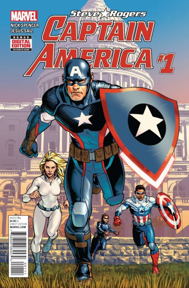 Cover for Steve Rogers: Captain America #1. Art by Jesus Saiz.