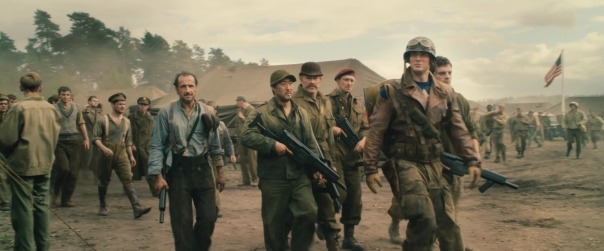 Still from Captain America: The First Avenger, 2011. Foreground, left to right: Bruno Ricci, Kenneth Choi, Neal McDonough, JJ Feild, Chris Evans, and Sebastian Stan.