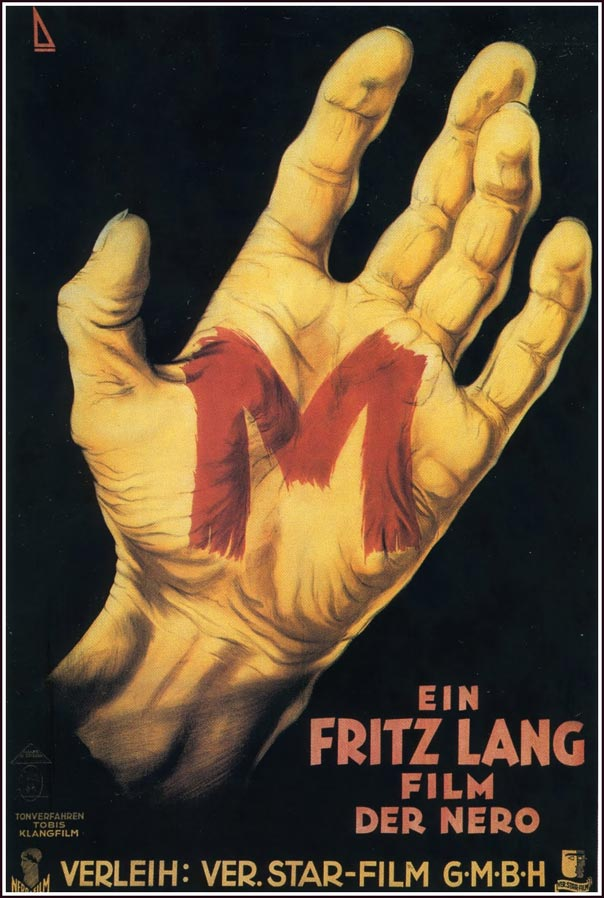 1931 German poster for Fritz Lang's M.